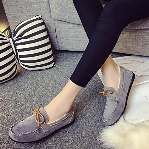 Suede Outdoor Shoes Winter Slip Gray 2018Women Peas TM Indoor Slippers Moccasin Elevin Shoes Comfort Anti EOqP4zxwz