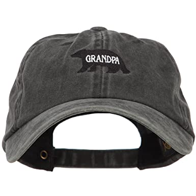 662ad281 Grandpa Bear Embroidered Washed Cotton Twill Cap - Black OSFM at ...