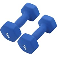 Hex Dumbbells Set 2 X 5 Kg, Ijzer PVC Dumbbells Fitness Hexagon Antislip Dumbbells Gewichtenset voor Mannen en Vrouwen…