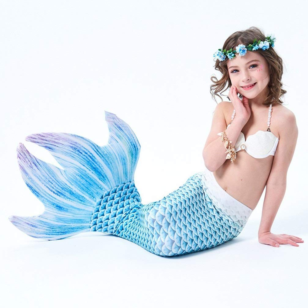 Couleur 4 135-145 (10-11 years old) MARYYUN Filles Cosplay Costume Maillots De Bain,Sirène Shell Maillot De Bain Ensembles,Enfant Filles De Sirène Maillot De Bain,Natation Maillot De Ba (MultiCouleure en Option)