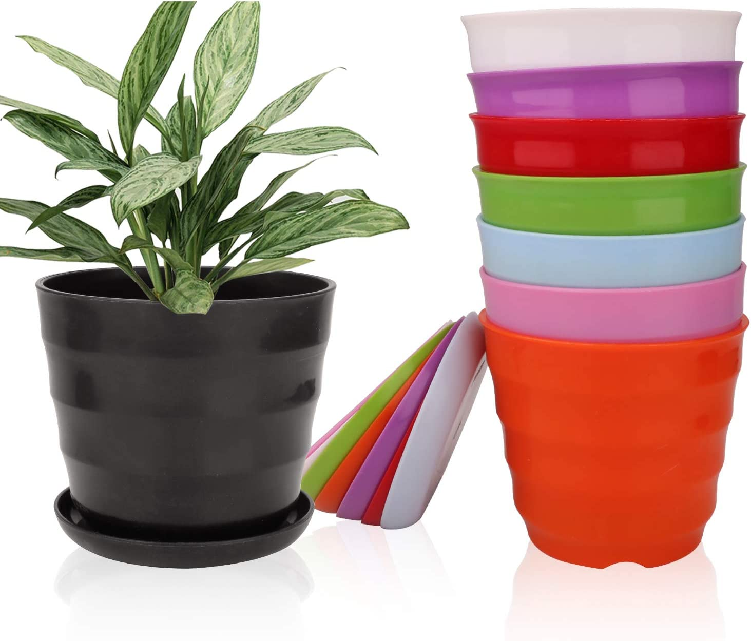6 Inches Plastic Plant Pots with Drainage Holes, Ufrount Gardening Containers, Flower Pots, Perfect for Garden/Yard/Kitchen/Flower/Succulents - Set of 10 (10 Colors, Thread Shape)