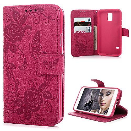 S5caso, Samsung Galaxy S5Case–Mavis 's Diary Fancy Peonies con relieve y mariposas Pure Color Premuim Snug Fit...