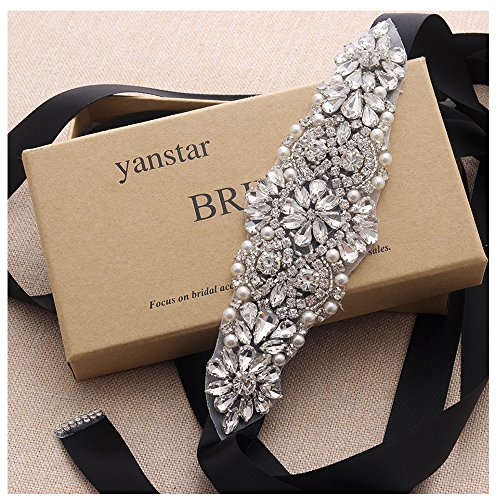 - Yanstar Silver Crystal Beads Rhinestone Wedding Bridal Belt Sash With Black Ribbon For Wedding Dress