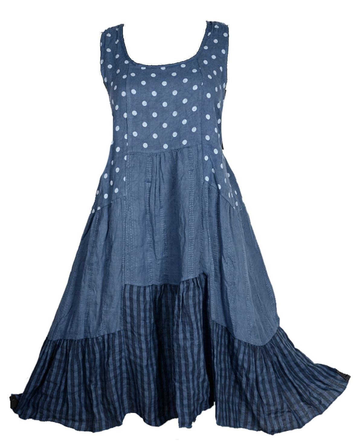 Damen Patchwork Leinen Lagenlook Sommer Kleid Tunika 44 46