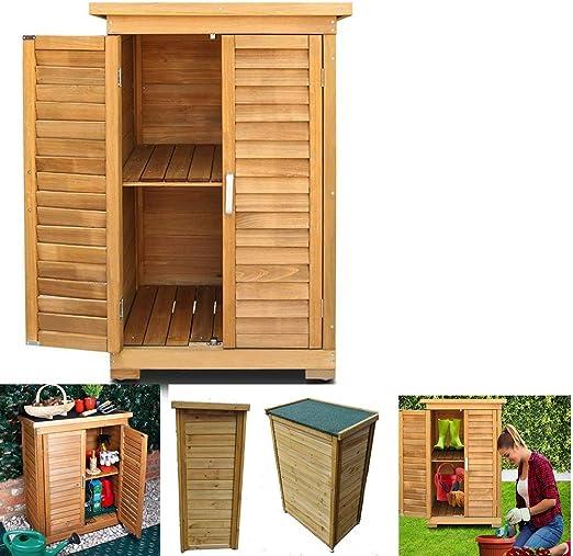 ZHOUAICHENG Jardín Caja de Almacenamiento de Almacenamiento al Aire Libre Shed persianas Armario Diseño armarios de Madera de Madera adecuados para Patios de jardín (Med: 69 x 43 x 96cm): Amazon.es: Hogar