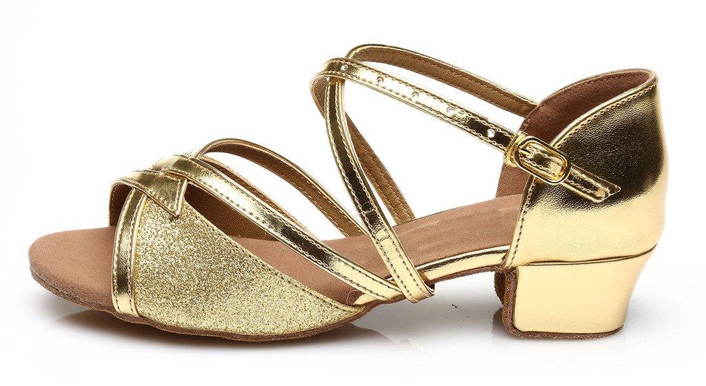 Girls Latin Salsa Dance Shoes ballroom,Heel 3.5CM,Gold,3M US,Little Kid
