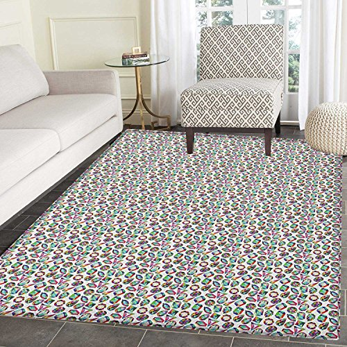 Diamonds Non Slip Rugs Crystal Pattern with Rainbow Color Palette Oval Triangular Hexagonal Geometric Door Mats for inside Non Slip Backing 4'x5' Multicolor
