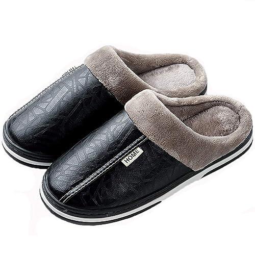 833ee178f5e Adultos Unisex algodón Zapatillas,Cuero Vamp,Gran tamaño,Caballeros Damas  Zapatillas de casa,conmutador Antideslizante único Zapatilla,con Forrado de  Piel ...