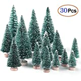 6MILES Artificial Mini Sisal Christmas Trees Snow Frost Wooden Bases Home Party Decoration Ornament DIY Craft (Blue-green, Mixed 30 pcs)