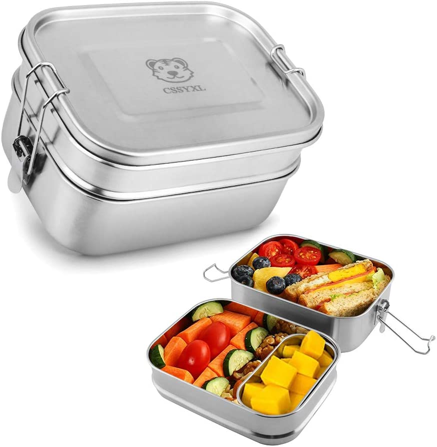 Bento Lunch Box 47oz/1400ml Layered 304 Stainless Steel Lunch Container for Kids Adults Woman Travel Large 2 Tier Food Storage Containers with Secure Locks Rectangle Metal Tiffin Lunchbox