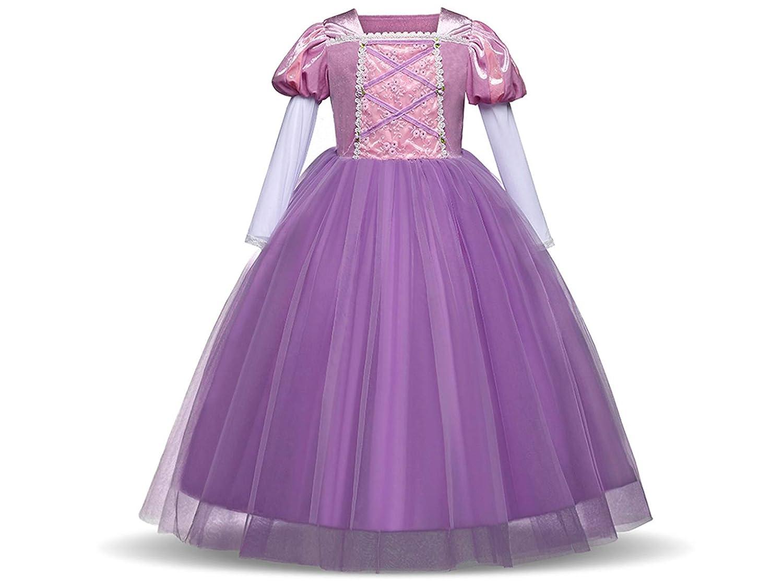 CIRAD Vestido Niñas Disfraz Rapunzel Princesa Vestido de Fiesta ...