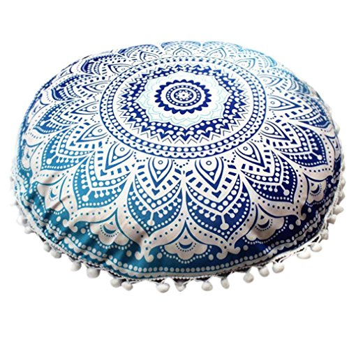 Perfect gift Bohemian Yoga Décor Floor Cushion Cover, 17'X17' Round Meditation Pillow Cover, 100% Hand Printed Organic Cotton by POCCIOL (G)