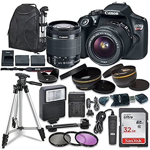 Canon EOS Rebel T6 Digital SLR Camera with Canon EF-S 18-55mm Image Stabilization II Lens, Sandisk 32GB SDHC Memory Cards, Accessory - Canon Digital Rebel Kit