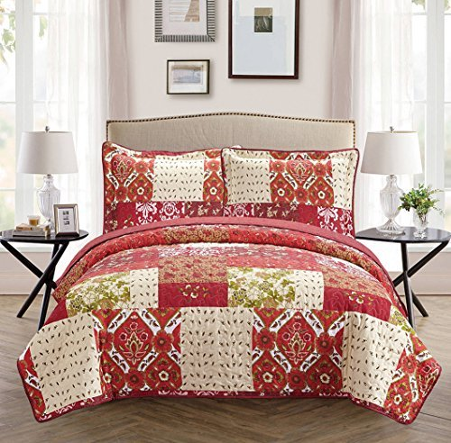 Fancy Collection 3pc Bedspread Bed Cover Floral Beige Red Green Brown Burgundy New 0051 (Full/queen)