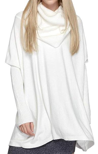 Sudaderas Mujer Jersey Mujer Otoño Invierno Elegantes Moda Sweater Cuello Alto Color Sólido Anchos Ropa Irregular