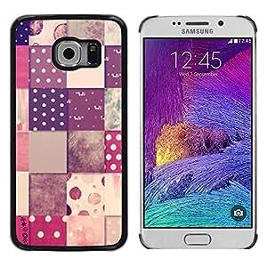 A cuadros patrón Polka Dot Design - Metal de aluminio y de plástico duro Caja del teléfono - Negro - Samsung Galaxy S6 EDGE (NOT S6)