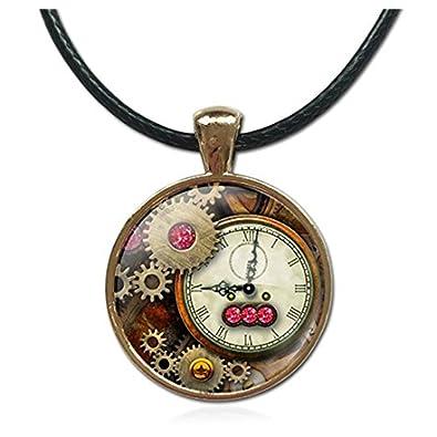 Fashion tiempo reloj ancla cuerda cadena cristal collares colgantes de cristal marca joyas para mujeres hombres