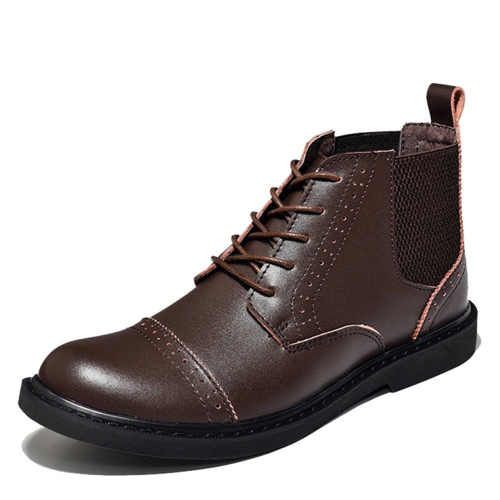 LYZGF Männer Vier Jahreszeiten Lässig Chelsea Stiefel Mode England Jugend Spitze Lederstiefel