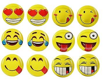 60 Emoji Party platos de papel 7 Inch Emoji Diversión Fiesta suministros y recuerdo de la fiesta. Pack de 60 amarillo diseño de emoji sonrisa cara platos de ...