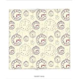 Custom printed Throw Blanket with Clock Decor by Vintage Watches with Roman Digits Wallpaper Pattern Decorative Illustration Cream Maroon Super soft and Cozy Fleece Blanket