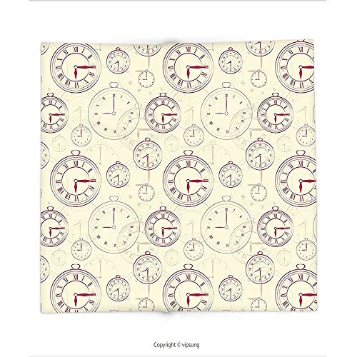 Custom printed Throw Blanket with Clock Decor by Vintage Watches with Roman Digits Wallpaper Pattern Decorative Illustration Cream Maroon Super soft and Cozy Fleece Blanket (Manhattan Watch Set)