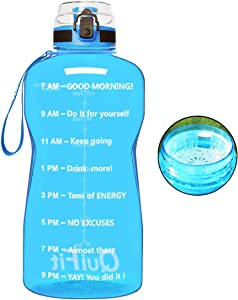 QuiFit Motivational Gallon Water Bottle - with Time Marker & Strainer Leak-proof Durable BPA Free Large Capacity Infuser Fruit Water Bottle for Fitness Outdoor Enthusiasts