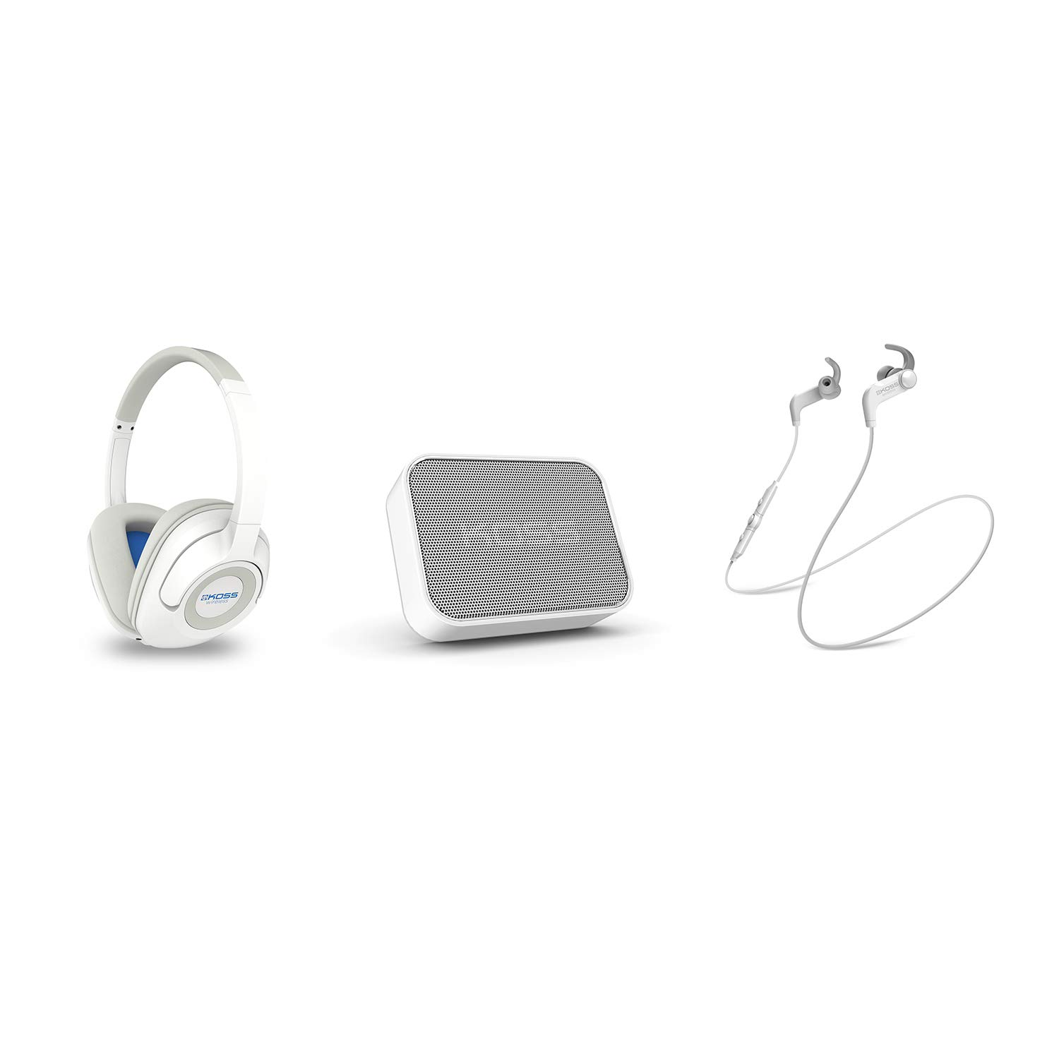 Koss Wireless Bluetooth Bundle White, BT539iW Over-Ear Headphone with Remote and in-line Microphone, BTS1W Portable Speaker, BT190iW Earbuds with in-Line Microphone and Touch Controls