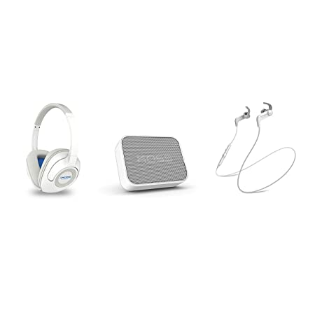 Koss Wireless Bluetooth Bundle White BT539iW Over-Ear Headphone w Remote in-line Microphone BTS1W Portable Speaker BT190iW Earbuds w in-Line Microphone Touch Controls