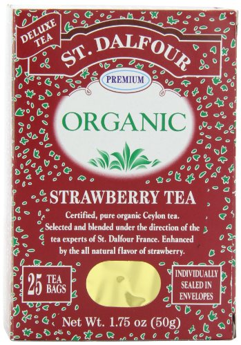 (ST. DALFOUR Organic Tea, Strawberry, 1.75-Ounce Bags, 25-Count Boxes (Pack of 6))