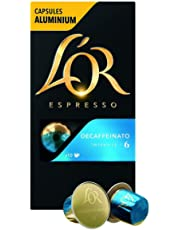 L'OR Café Espresso Decaffeinato Intensité 6 - Capsules de café en aluminium compatibles avec Nespresso® * - 10 paquets de 10 capsules (100 boissons)