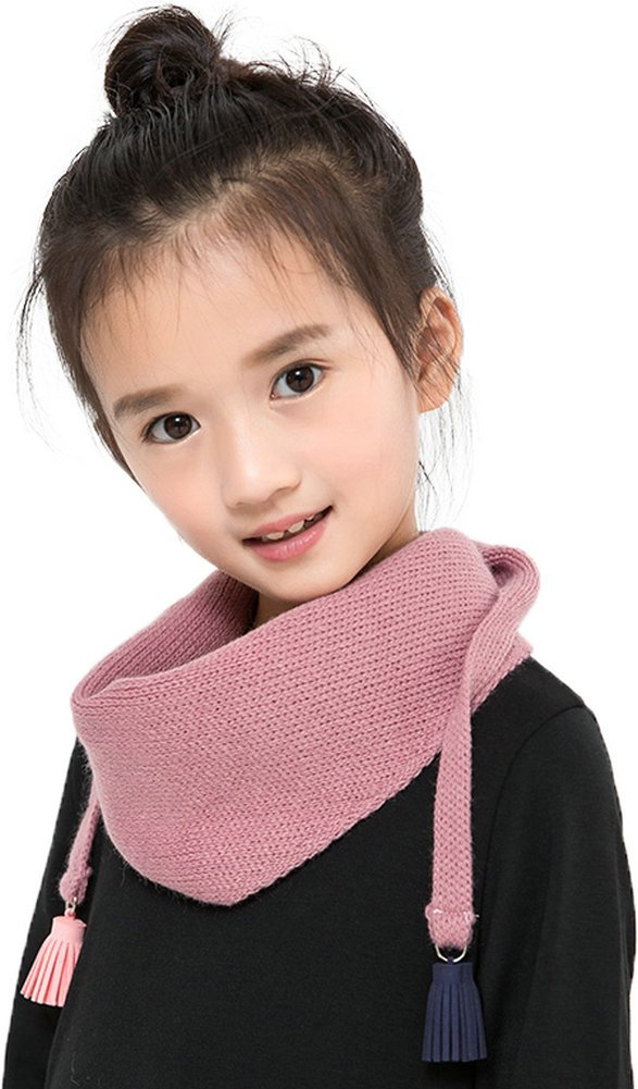Ababalaya Kids Toddler Little Girl Soft Warm Cold Weather Knitted Scarf 47''×16'',Powder