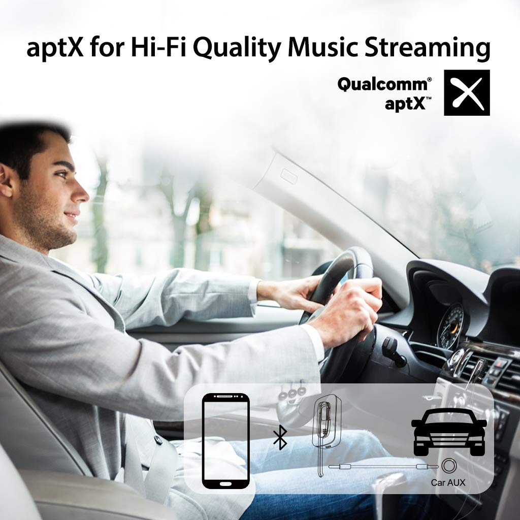 Avantree Handsfree Wireless Headset & Car Bluetooth Receiver 2-in-1, Hands Free Earpiece with Extended Mic for Clear Calling, aptX Wireless Audio Music Adapter with 3.5mm Aux for Car Stereo - Ego by Avantree (Image #4)