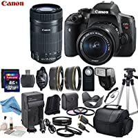 Canon EOS T6i Digital SLR Camera with EF-S 18-55mm STM Lens & 55-250mm STM Lens with eDigitalUSA Premium Kit - International Version