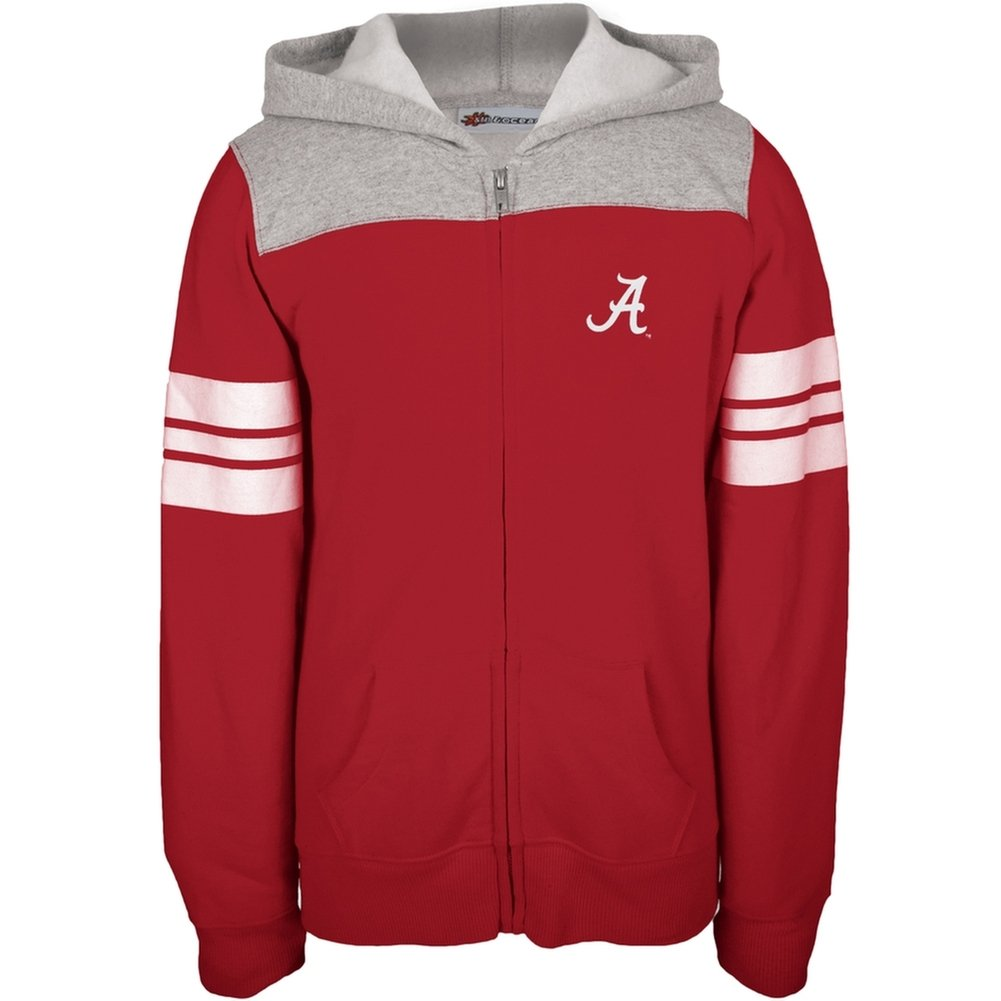 Alabama Crimson Tide - Game Day Sports Stripes Girls Youth Zip Hoodie Red