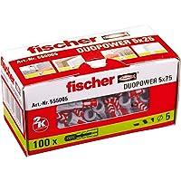 Fischer Duopower 5 x 25 universele pluggen voor het bevestigen van hangkasten, wandrekken in beton, metselwerk…