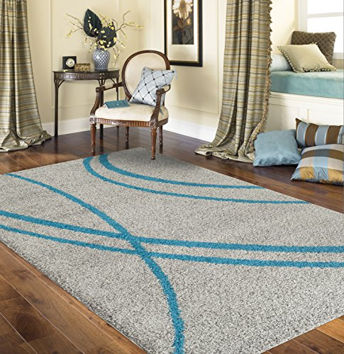 Rugshop Cozy Contemporary Stripe Gray Indoor Shag Area Rug, 3'3″ x 5′, Turquoise/Gray