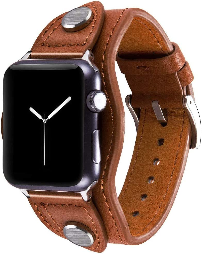 Konafei Compatible with Apple Watch Band 40mm 38mm iwatch Series 6/5/4/3/2/1/SE, Leather Metal Cuff Bracelets Retro Strap for Men Women (Brown, 42/44mm)