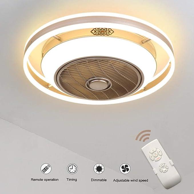 Classe energetica A ++ JDMYL Ventilatori da Soffitto con Lampada 36W Ventilatore Invisibile Creativo Ventilatore Plafoniera a LED Telecomando Dimmerabile Lampadario a Ventaglio Ultra-Silenzioso