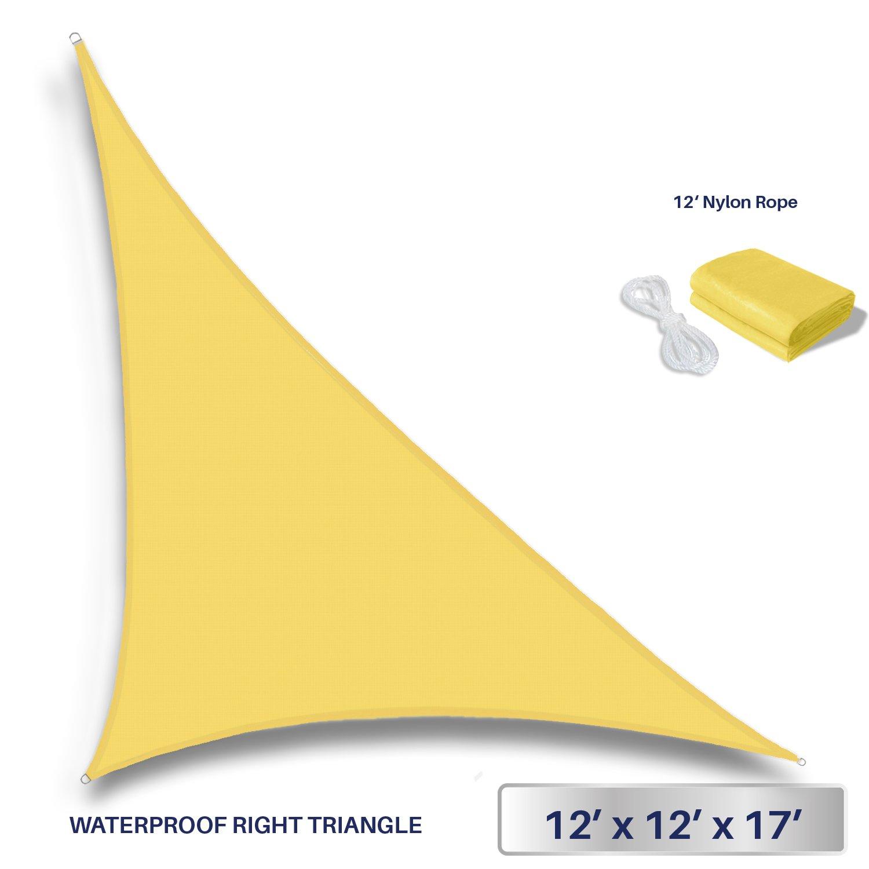 Windscreen4less Terylene Waterproof Sun Shade Sail UV Blocker Triangle Sunshade Patio Canopy Sail 12' x 12' x 17' in Color Yellow