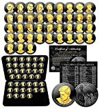 BLACK RUTHENIUM 24K Gold Edition with BOX - ALL 39 PRESDENTIAL $1 DOLLAR COINS