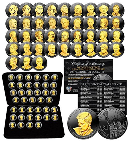 BLACK RUTHENIUM 24K Gold Edition with BOX - ALL 39 PRESDENTIAL $1 DOLLAR COINS (Platinum Collector Case)