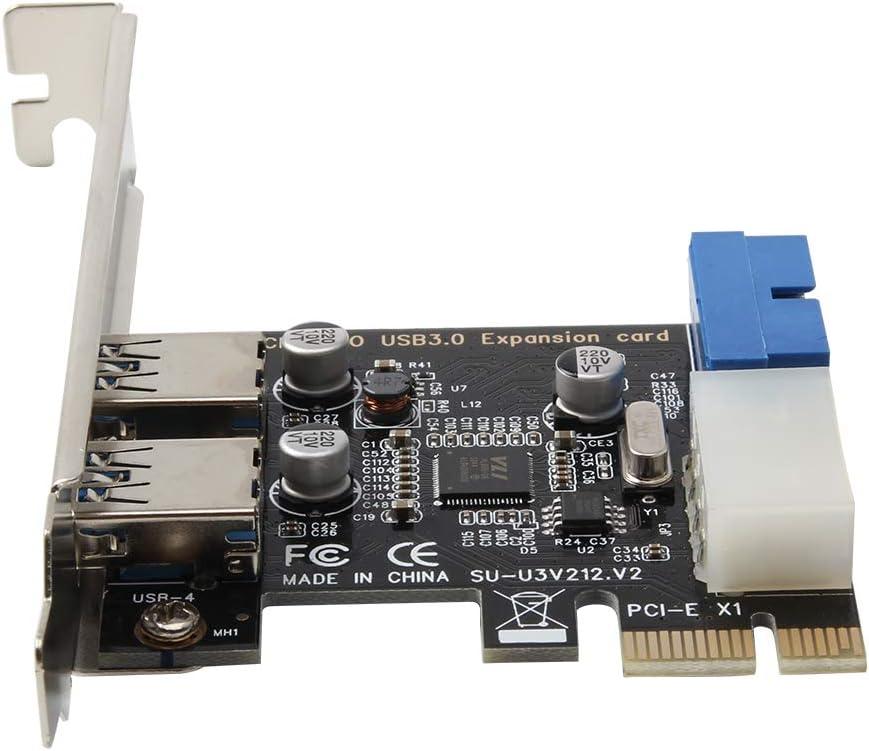Grborn Tarjeta de expansi/ón PCI-E a USB 3.0 Convertidor de 19 Pines Externo 2 Puertos USB 3.0 Doble Interfaz USB 3.0 para PC de Escritorio