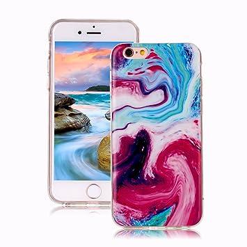 Funda iPhone 6S Mármol, Yunbaozi iPhone 6 Case Diseño Mármol Carcasa Suave Goma Silicona Soft Marble Case Textura de Piedra Natural Funda Liso ...