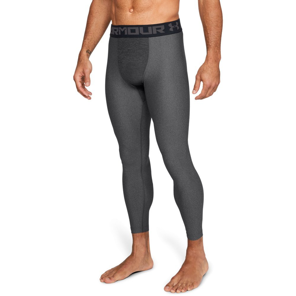 Under Armour Men's HeatGear Armour 2.0 Leggings, Carbon Heather (090)/Black, Large by Under Armour