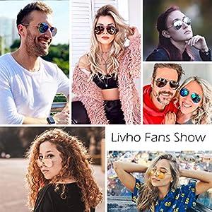 livho Classic Polarized Aviator Sunglasses UV Mirrored Lens Metal Retro Shades for Women Men