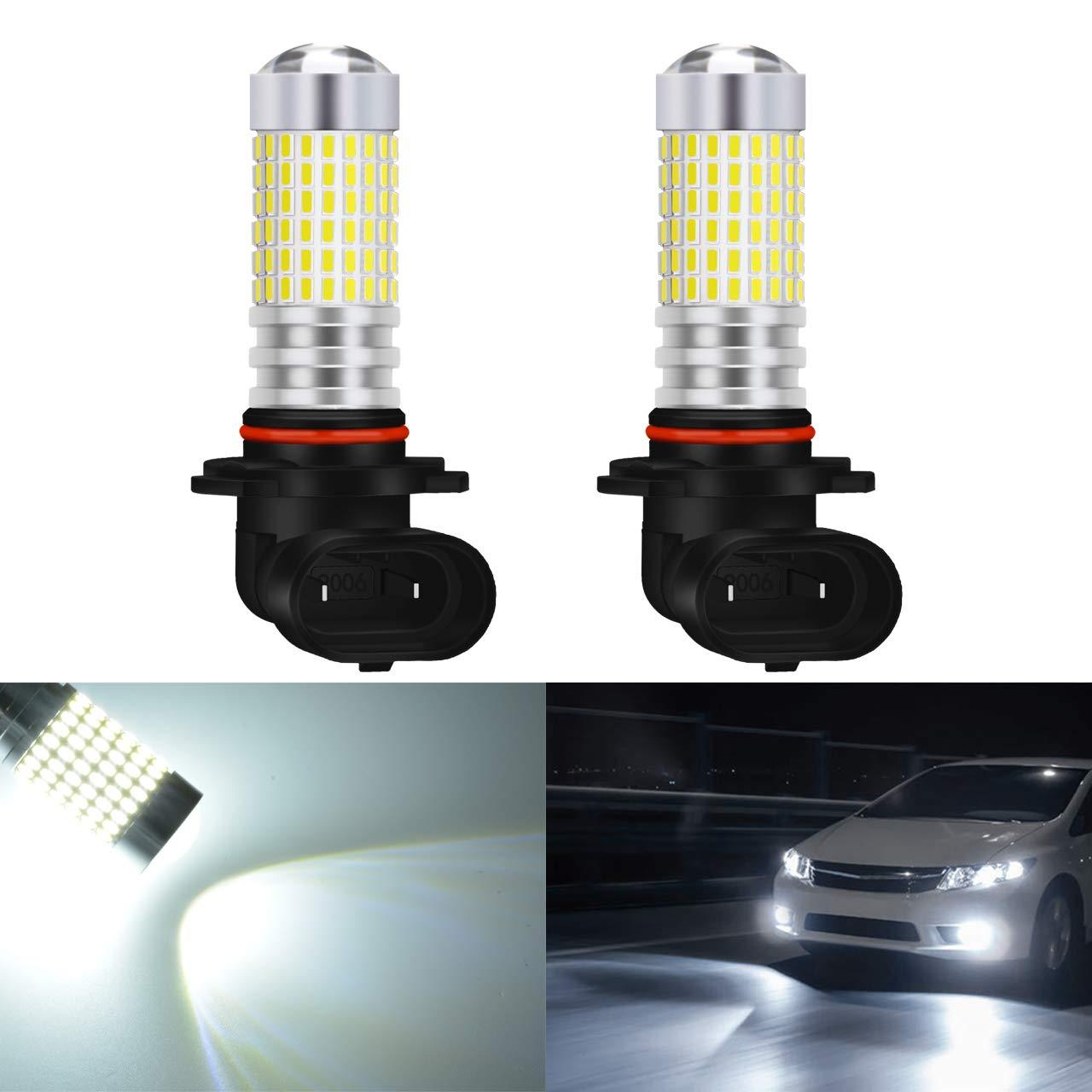 Katur, fari estremamente luminosi da 1500 lumen, fendinebbia 3014, 144SMD, 9005, HB3, H10, 9145, 9140, lampadine per le luci delle frecce DRL, luci di posizione 12 V-24 V, bianco 6000 K (confezione da 2)