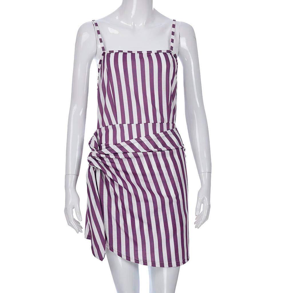 Peize Womens Summer Fashion Vacation Stripe Printed Strap Sling Dress