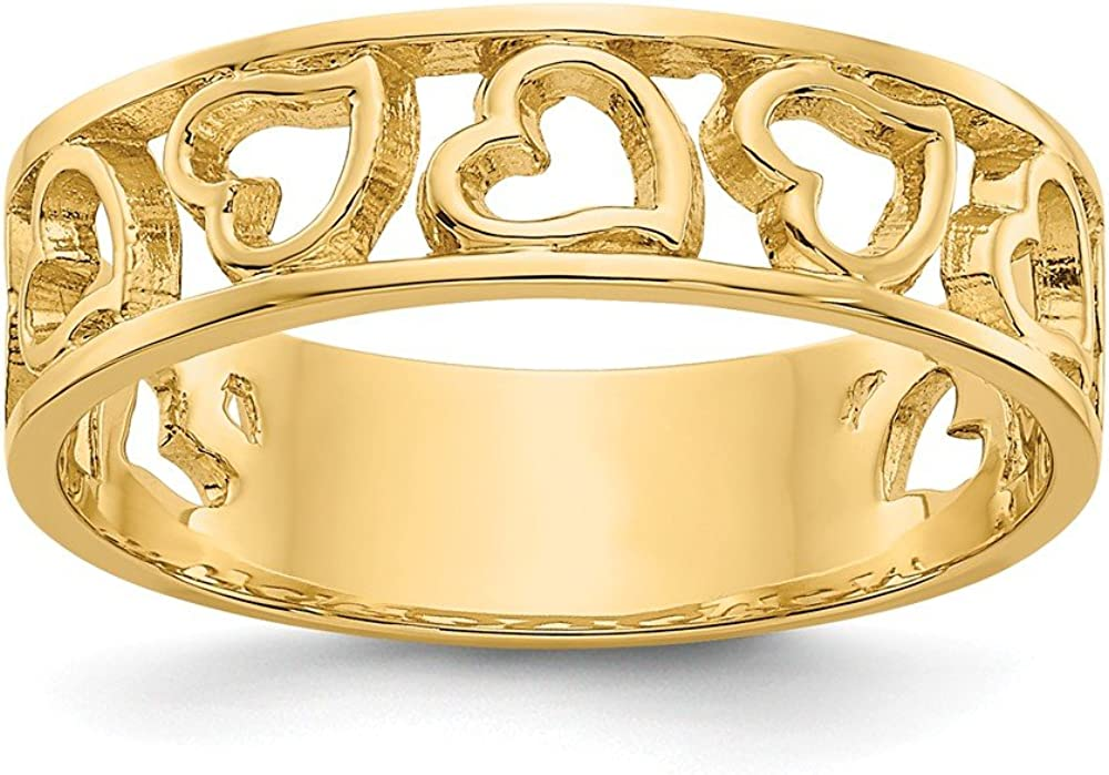 FB Jewels Solid 14K Yellow Gold Heart Ring