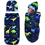 TANOFAR Newborn Swaddle Blanket with Beanie Set,Soft Stretchy Cocoon Sack for 0-3 Months Baby Boys and Girls(Watercolor…