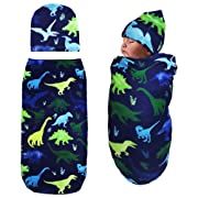 Newborn Swaddle Sack with Baby Hat Sleeping Sack Soft&Stretchy Cotton Newborn Photography Prop Baby Shower Gift for 0-3 Months Baby Boys by TIANNUOFA(Watercolor Dinosaur)